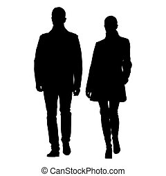 Man and woman walking side by side dressed in coats. Vector...