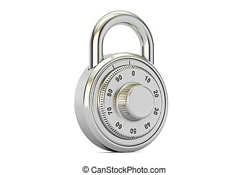combination padlock, 3D rendering isolated on white...