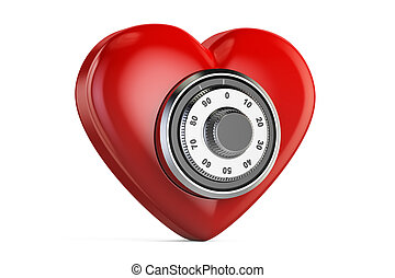 Red heart with safe combination lock, 3D rendering