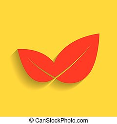 Leaf sign illustration. Vector. Red icon with soft shadow on golden background.