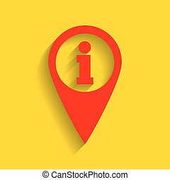 Map pointer with information sign. Vector. Red icon with...