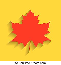 Maple leaf sign. Vector. Red icon with soft shadow on golden background.