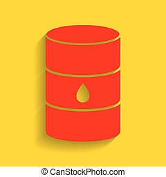 Oil barrel sign. Vector. Red icon with soft shadow on golden...