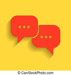 Speech bubbles sign. Vector. Red icon with soft shadow on...