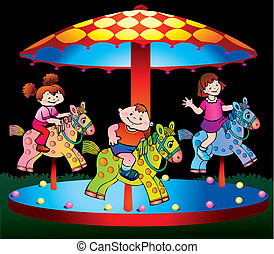 Children ride on the carousel Vector art-illustration on a...