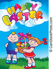 Children with Easter eggs.