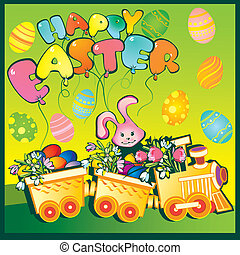 Train with flowers and easter eggs. - Cartoon train carrying...