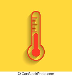 Meteo diagnostic technology thermometer sign. Vector. Red...