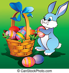 Easter bunny. - Little bunny with easter basket and eggs....