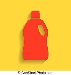 Plastic bottle for cleaning. Vector. Red icon with soft...
