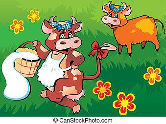 Cows dancing.