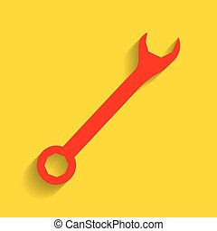 Crossed wrenches sign. Vector. Red icon with soft shadow on...