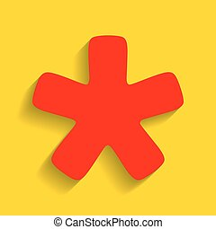 Asterisk star sign. Vector. Red icon with soft shadow on golden background.