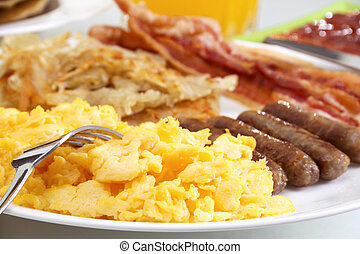Hearty Breakfast - Stock image of hearty breakfast, focus on...