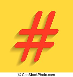 Hashtag sign illustration. Vector. Red icon with soft shadow...