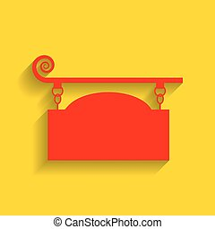 Wrought iron sign for old-fashioned design. Vector. Red icon with soft shadow on golden background.
