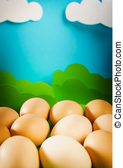 Easter eggs on spring background - lot of easter eggs on a...