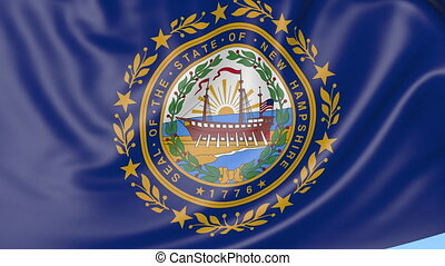 Waving flag of New Hampshire state against blue sky....