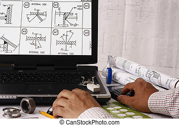 Welding symbol - Engineer doing a model review in his design...