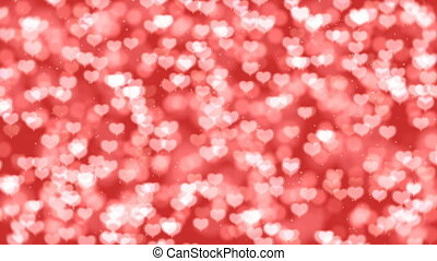 Red Valentine Hearts Bokeh Looped Animation Background.