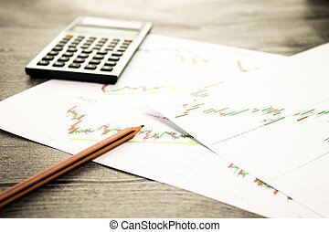 calculator and pencil on graffica the Dow Jones on forex...