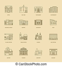 Outline town houses illustration