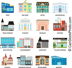 City buildings flat icons on white. Daycare and hotel,...