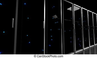Data center servers glass fronted flashing lights tracking...