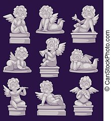 Beautiful statue of angel praying isolated marble antique sculpture or monument and cupid boy statue stone decoration symbol vector illustration.