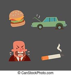 Businessman heart risk man heart attack stress infarct vector illustration smoking drinking alcohol harmful depression dizziness health problems