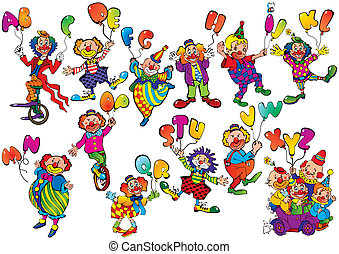 Clowns with balloons. - Funny clowns with balloons in the...