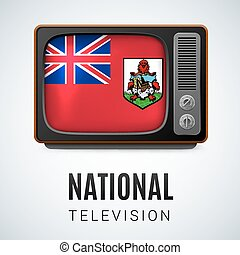 National television - Vintage TV and Flag of Bermuda as...