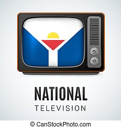 National television - Vintage TV and Flag of Saint Martin as...