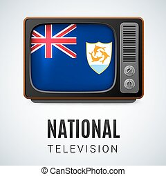 National television - Vintage TV and Flag of Anguilla as...