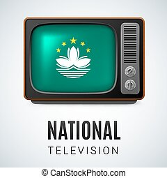 National television - Vintage TV and Flag of Macau as Symbol...