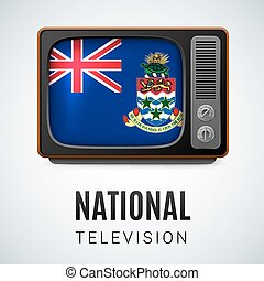 National television - Vintage TV and Flag of Cayman Islands...