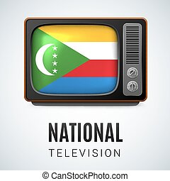 National television - Vintage TV and Flag of Comoros Islands...
