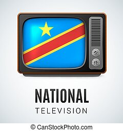 National television - Vintage TV and Flag of Democratic...