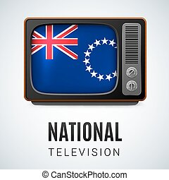 National television - Vintage TV and Flag of Cook Islands as...