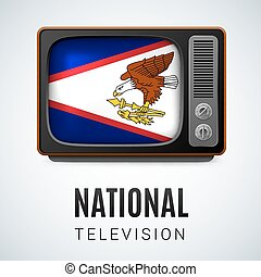 National television - Vintage TV and Flag of American Samoa...