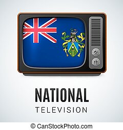 National television - Vintage TV and Flag of Pitcairn...