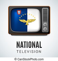 National television - Vintage TV and Flag of Azores as...