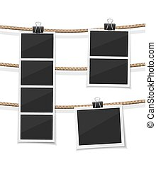Set of vector photobooth and photos hanged on rope....
