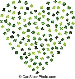 Heart Shaped Irish Background. Made Of Clover Laef.