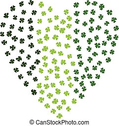 Heart Shaped Irish Background. Made Of Green Clover Laef.