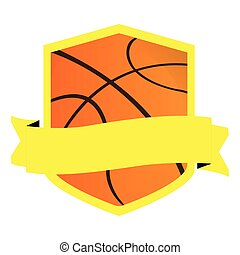 Isolated basketball emblem with a ribbon, Vector...