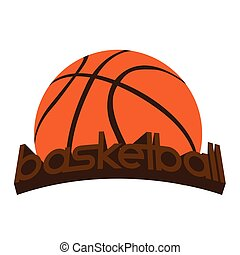 Isolated basketball emblem with a ball and text, Vector...