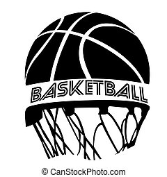 Isolated basketball emblem with a ball and a net, Vector...