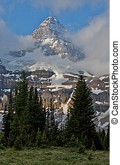 Mount Assiniboine with morning clouds - Mount Assiniboine...