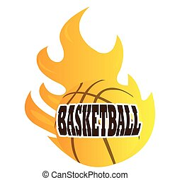 Isolated basketball ball on fire, Vector illustration